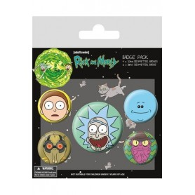 Rick and Morty Pack 5 Chapas Heads