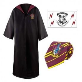 Tunica, corbata y tatuaje Gryffindor Harry Potter (talla L)