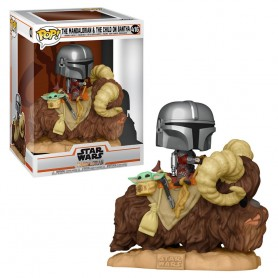 Figura POP Star Wars The Mandalorian Mando on Bantha with Child in Bag 416