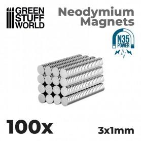 Imanes Neodimio 3x1mm - 100 unidades (N35)