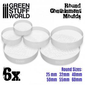 6x Moldes Contencion blanco translúcido para Peanas - Redondas