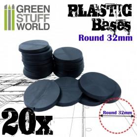 Peanas de Plástico - Redondas 32mm NEGRO