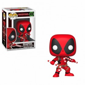 Figura Funko POP! Marvel Holiday Vinyl Cabezón Deadpool (Candy Canes) 400