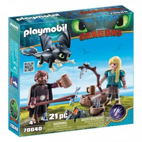 Set de Juego Hipo y Astrid Como Entrenar a tu Dragon Playmobil