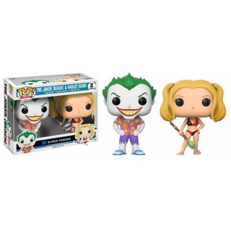 DC Comics Pack de 2 POP! Heroes Vinyl Figuras Beach Joker & Harley 9 cm