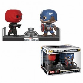 Marvel Pack de 2 POP! Movie Moments Vinyl Cabezón Captain America & Red Skull 9