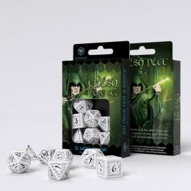 Elvish Pack de Dados blanco & negro (7)