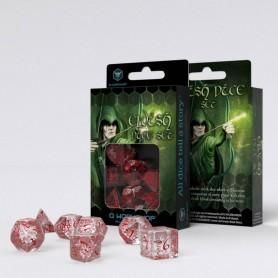 Elvish Pack de Dados transparente & rojo (7)