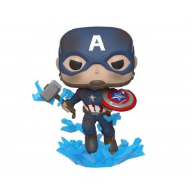 Avengers: Endgame POP! Movies Vinyl Figura Captain America w/Broken Shield & Mjölnir 9 cm