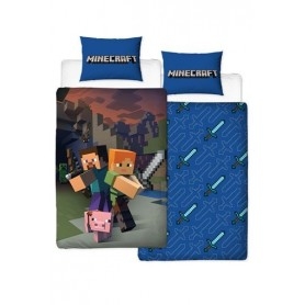 Minecraft Funda Nórdica Reversible Good Guys 135 x 200 cm / 48 x 74 cm