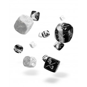 Oakie Doakie Dice Dados D6 12 mm Marble/Gemidice Positive & Negative - Blanco (14)